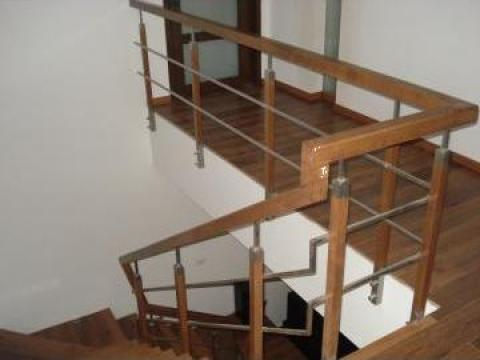 Balustrada lemn combinata cu inox