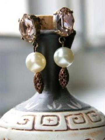 Cercei cu cristale Swarovski - Perles Rose de la Beau Charm