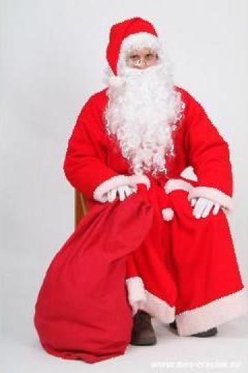 Costum Mos Craciun cu centura la comanda rosu cu alb de la Johnny Srl.
