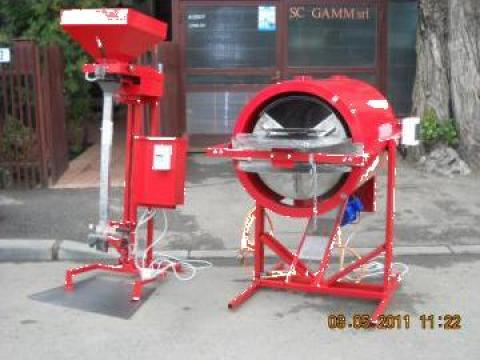 Cuptor prajit seminte rotativ si masina ambalat