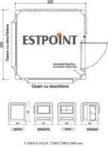 Cabine paza dimensiuni 2200x2200x2400 mm de la Estpoint SRL