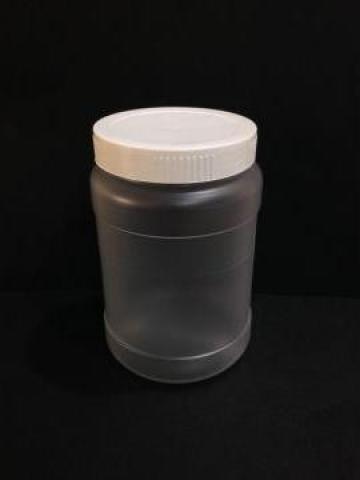 Borcan transparent/alb 400 ml cu capac fi 66 alb/galben de la Vanmar Impex Srl