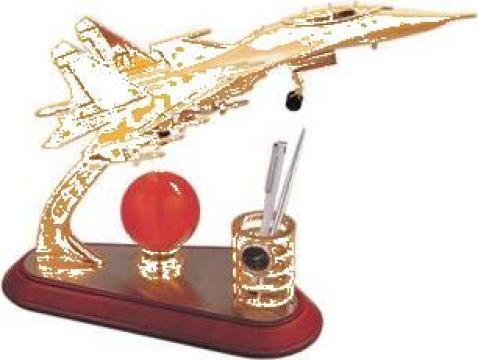 Suport pixuri cu ceas Avion metalic cu glob din Jad