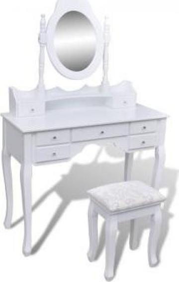 Masuta de toaleta cu oglinda 7 sertare si taburete XXL alb