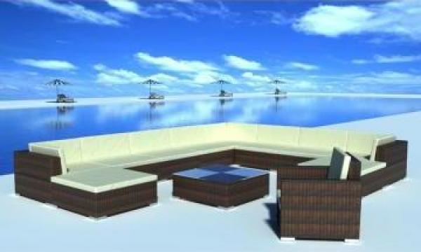 Set mobilier gradina din poliratan 35 buc. Maro
