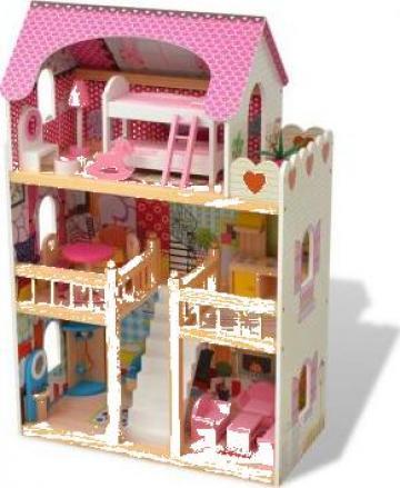 Jucarie casa de papusi cu 3 etaje, lemn, 60 x 30 x 90 cm