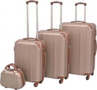 Set de valize trollere, culoare sampanie, 4 buc. de la Vidaxl
