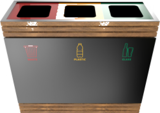 Cos de gunoi compact din metal si lemn Brend PC de la Forward Support Srl