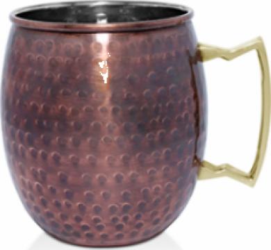 Cana, halba Raki Antique Mug inox cu strat cupru 8,25x9,5cm de la Basarom Com