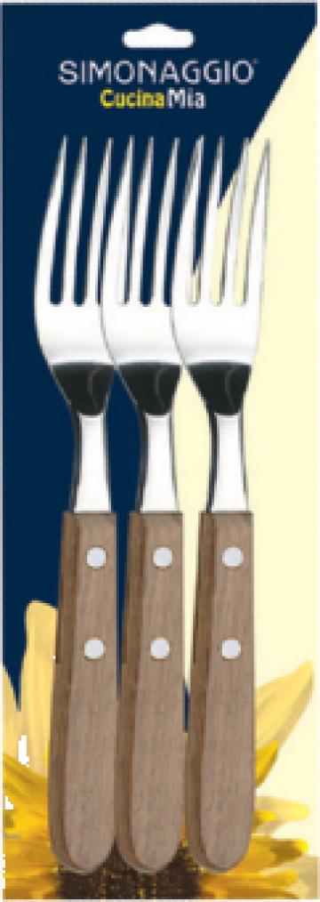 Furculita set 3 bucati Simonaggio Cucina Mia cu maner lemn de la Basarom Com