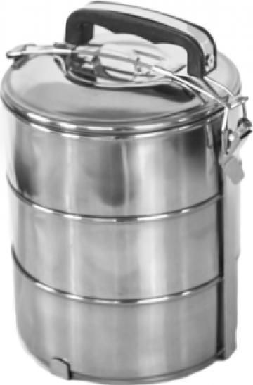 Cutie, caserola termos transport alimente set 3 piese inox de la Basarom Com