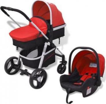 Carucior pentru copii 3-in-1, aluminiu, rosu si negru de la Vidaxl