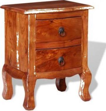 Noptiera cu sertare din lemn masiv de acacia de la Vidaxl