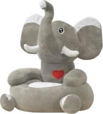 Scaun din plus pentru copii elefant, gri