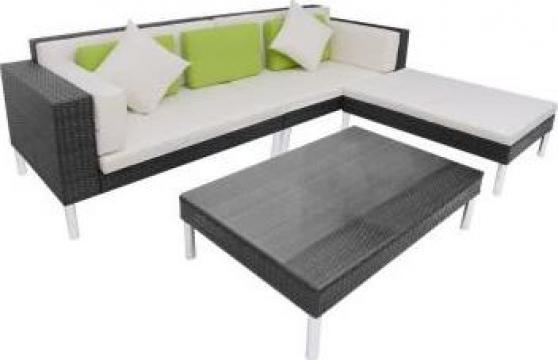 Set canapea de gradina din poliratan, 17 piese, negru