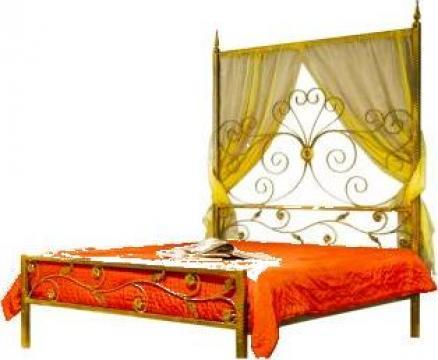 Pat matrimonial Queen, din fier forjat cu baldachin 160x200 de la Stefiart Design Srl