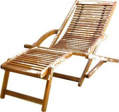 Sezlong cu suport pentru picioare din lemn de acacia de la Vidaxl