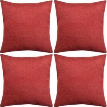 Huse de perna cu aspect de in, 50 x 50 cm, rosu