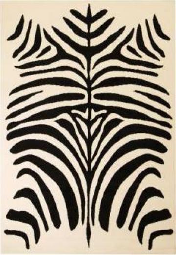 Covor modern cu design zebra, 140 x 200 cm, bej/negru