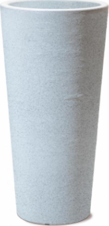 Ghiveci exterior perete dublu Wave fibra granit alb 34litri de la Basarom Com