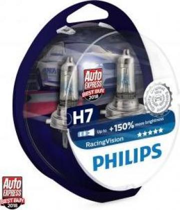 Bec halogen H7 Philips Racing Vision +150% de la Alex & Bea Auto Group Srl