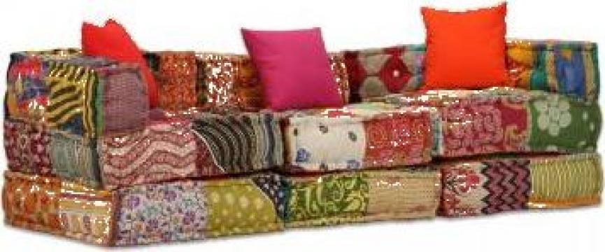 Canapea modulara cu 3 locuri Textil, Petice de la Vidaxl