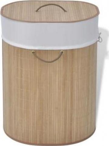 Cos de rufe oval din bambus, natural de la Vidaxl