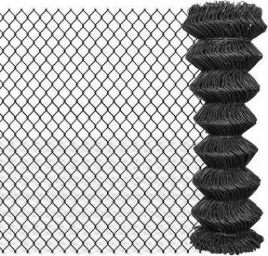 Gard plasa de sarma din otel, 15 x 1,25 m, gri