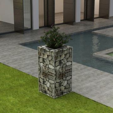 Jardiniera gabion din otel, 50 x 50 x 100 cm