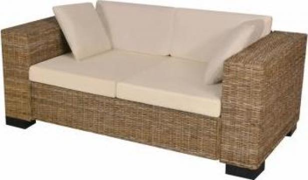Set canapea de 2 locuri din poliratan 7 piese de la Vidaxl