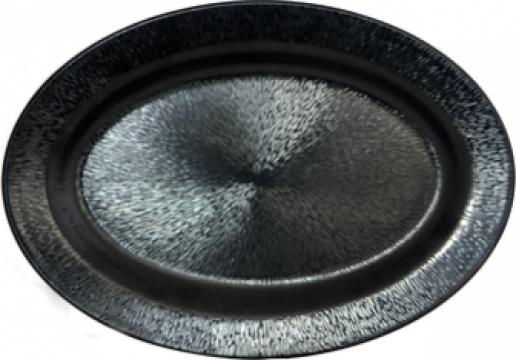 Platou oval Raki Nova Black melamina 36x51x1cm de la Basarom Com
