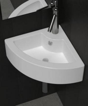 Chiuveta de baie din ceramica, montare pe colt, alb de la Vidaxl