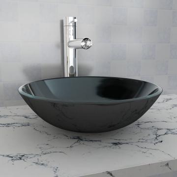 Chiuveta de baie din sticla calita, 42 cm, negru de la Vidaxl