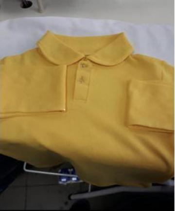 Tricou polo galben de copii cu maneca lunga