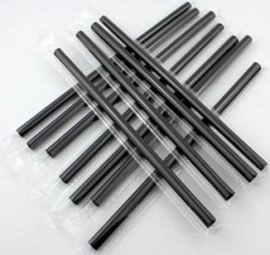 Paie drepte Jumbo negre 240x7mm, ambalate individual de la Cristian Food Industry Srl.