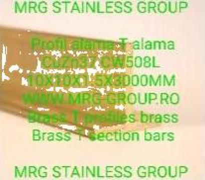 Profil T alama 10x10x1.5 CuZn37 CW508L T alama aluminiu inox de la MRG Stainless Group Srl