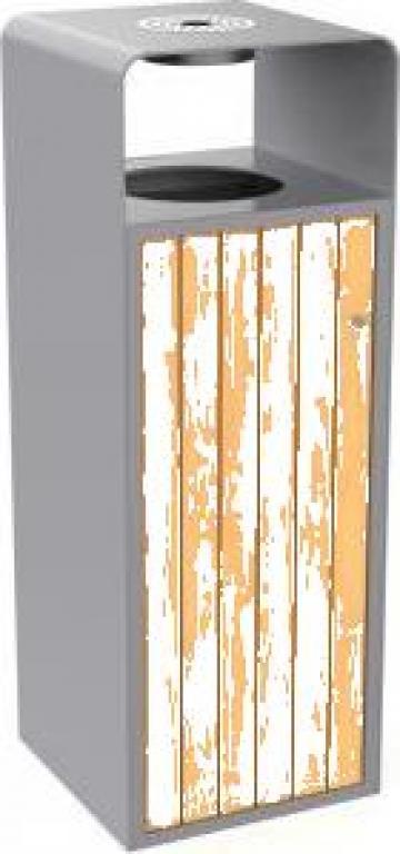 Cos de gunoi cu scrumiera pentru exterior, metal/lemn design de la Bins Factory