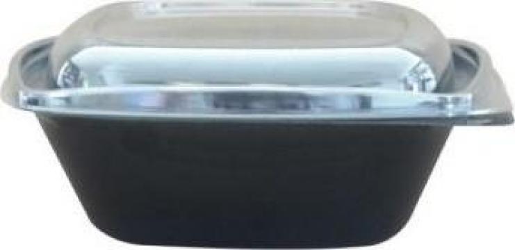 Bol salata patrat negru 1000cc+capac transparent 300 buc/bax de la Cristian Food Industry Srl.