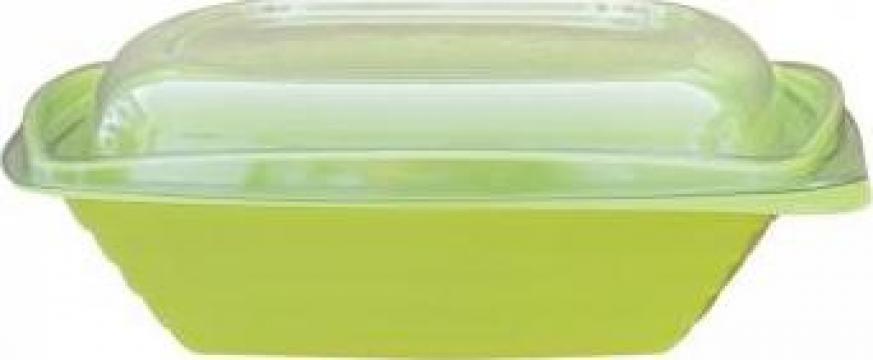 Bol salata patrat verde 750cc+capac transparent 300 buc/bax de la Cristian Food Industry Srl.