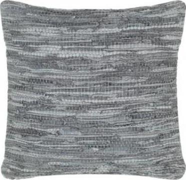Perna Chindi, gri, 60 x 60 cm, piele si bumbac