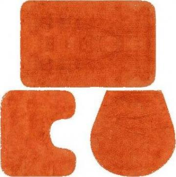 Set covorase de baie, 3 piese, portocaliu, textil de la Vidaxl