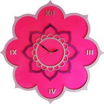 Ceas de perete Mandala Floare de Lotus, personalizabil, lemn de la Artemis Srl
