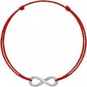 Bratara Infinit Argint 925, snur rosu, unisex