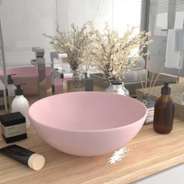 Chiuveta de baie, roz mat, ceramica, rotund de la Vidaxl