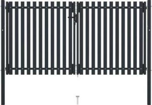 Poarta de gard dubla, antracit, 306 x 200 cm, otel