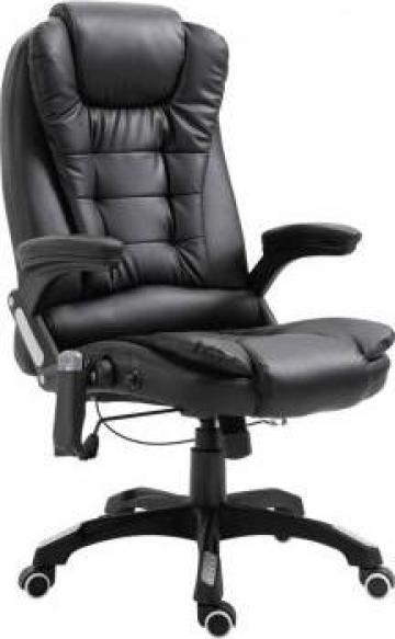 Scaun de birou cu masaj, negru, piele ecologica