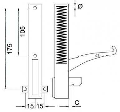 Balama usa cuptor L=130 mm