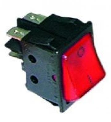 Buton rosu basculant 30x22mm, 2NO, 250V