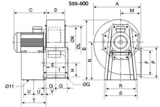 Ventilator centrifugal 400 grd CHMT/6- 400/165-2.2 de la Ventdepot Srl