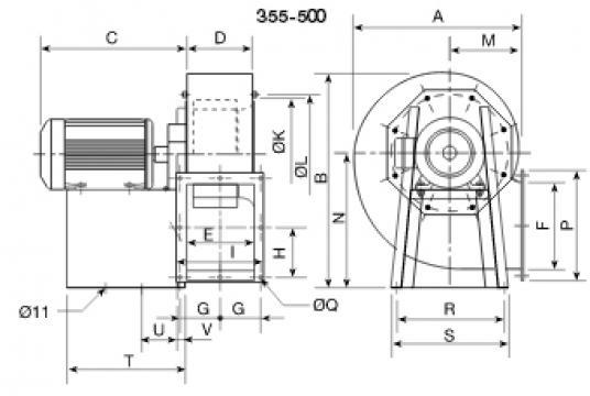 Ventilator centrifugal 400grd CRMT/4- 450/185 5.5Kw de la Ventdepot Srl